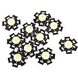 eDealMax a14073100ux0209 10x Lámpara LED Pure emisor de luz del Grano, 20 mm disipador de calor, 1W, 3.0-3.6V, 350 mA, White