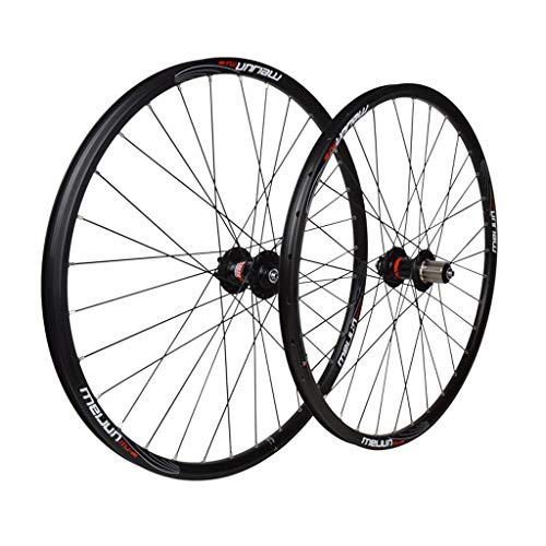 ZNND 26inch Bike Wheelset, Double Wall MTB Rim Disc Brake Quick Release Mountain Bike Hole Disc Compatible 7 8 9 10 Speed (Size : 26inch) ()
