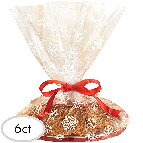Cookie Tray Bags (Christmas Snowflake Plastic Tray Bag, 6 Ct. | Party)