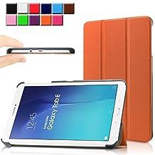 Samsung Galaxy Tab E 9.6 case - Infiland Ultra Slim Tri-Fold Smart Case Cover for Samsung Tab E / Tab E Nook 9.6-Inch Tablet (SM-T560 / T561 / T565 / SM-T567V Verizon 4G LTE) (Tab E 9.6 Inch, Orange)