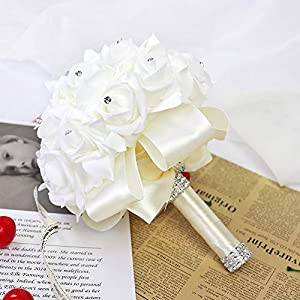 123 TEST Artificial Flowers Bride Holding Bouquet Handmade Silk Roses Flowers for Wedding Engagement Valentine's Day Church Party and Home Hotel Office Garden Craft Art Decoration(Milk White) 3