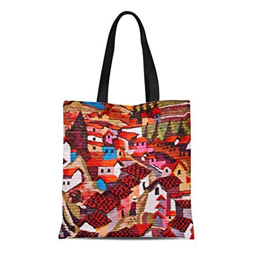 Semtomn Cotton Line Canvas Tote Bag Colorful America South American Village Town Mexican Chilean Brazilian Reusable Handbag Shoulder Grocery Shopping Bags