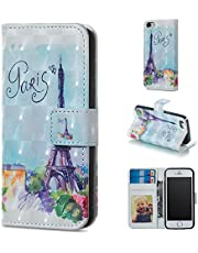Glitter Wallet Case for iPhone 5/5S/SE 2016 and Screen Protector,QFFUN Bling 3D Pattern Design [Tower] Magnetic Stand Leather Phone Case with Card Holder Drop Protection Etui Bumper Flip Cover