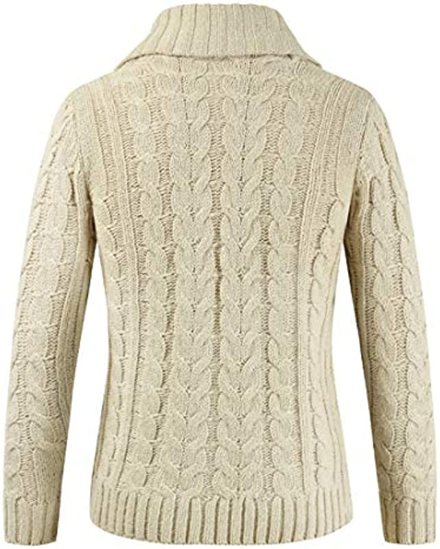 YJNH Męskie Cardigan Schalkragen V-Kragen Knopfleiste Grobstrick Locker Fit Langarm mit Rippstruktur Neuer Winter Warm Casual Daily Wear Sweater Outwear: Odzież