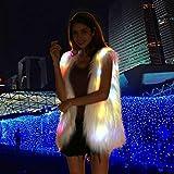 Light Up Vest Fluffy Glowing Winter Fur Coat Rainbow LED Costume Waistcoat (S) Larger Image