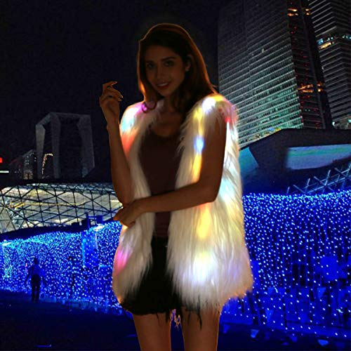 Light Up Vest Fluffy Glowing Winter Fur Coat Rainbow LED Costume Waistcoat (S)]()