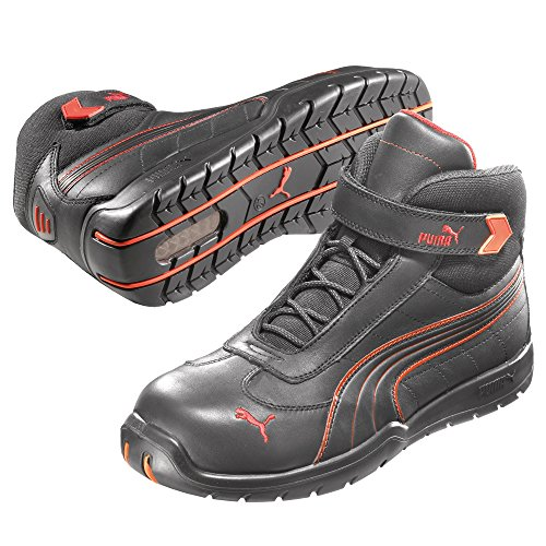 Puma Safety Shoes Daytona Mid S3 HRO SRC, Puma 632160-210 Unisex-Erwachsene Sicherheitsschuhe, Schwarz (schwarz/rot 210), EU 42