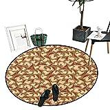 "Mushroom Round Rugs for Bedroom Organic Food Porcini Mushroom with Vintage Grunge Display Harvest Farmland Circle Rugs for Living Room (43"" Diameter) Cocoa Brown Beige -  Anniutwo"