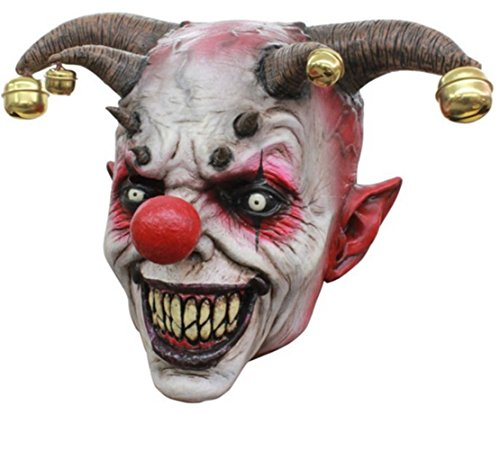 GnG's Jingle Jangle Psycho Evil Jester Clown Latex Adult Halloween Costume Mask