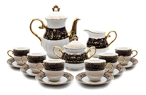 - Royalty Porcelain 17-pc Flower Pattern Dark Cobalt Blue Tea Set, 24K Gold-Plated Original Czech Tableware, Service for 6