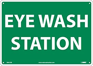 """NMC M441RB Emergency and First Aid Sign, """"EYE WASH STATION"""", 14"""" Width x 10"""" Height, Rigid Plastic, White On Green"""