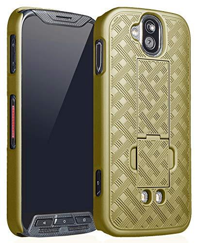 (Kyocera DuraForce Pro Case, Nakedcellphone [Champagne Gold] Slim Ribbed Rubberized Hard Shell Cover [with Kickstand] for Duraforce Pro (E6810, E6820, E6830, E6833, E6800) (AT&T, Sprint, Verizon, etc))