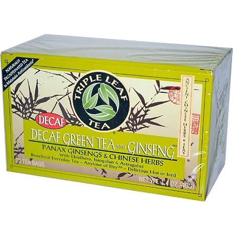 Green Tea-No Caffeine With Ginseng & Chinese Herbs Triple Leaf Tea 20 Bag