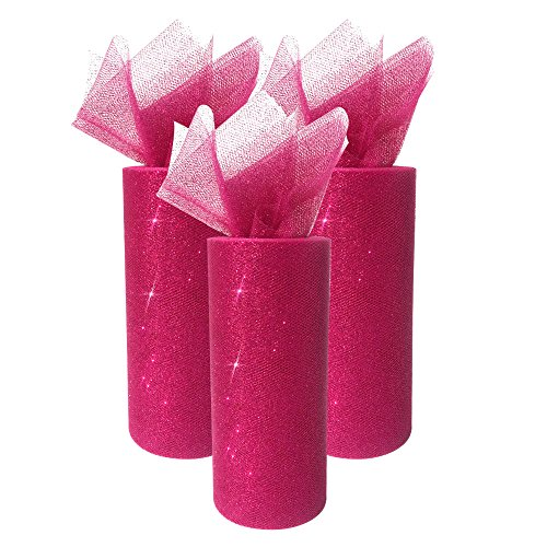 Just Artifacts Glitter Tulle Fabric Roll 25yrd Length x 6in Width (Set of 3, Color: (Homemade Magenta Costume)