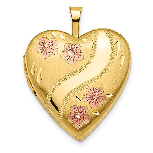 14k Yellow Gold 20mm Pink Enameled Flowers Heart Photo Pendant Charm Locket Chain Necklace That Holds Pictures Fine Jewelry Gifts For Women For Her ()