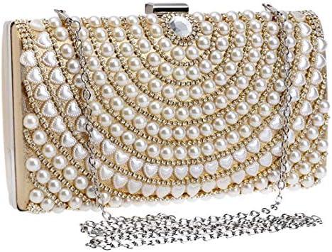ウィメンズハンドバッグ、高級バンケットパールイブニングクラッチ、コインケース、クロスボディバッグ、(チェーンカラー:ゴールド) 美しいファッション