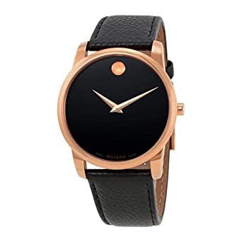 d3d9d426aa8 Image Unavailable. Image not available for. Color  Movado Men s 40mm Black  Leather Band Rose Gold Plated Case Sapphire Crystal Swiss Quartz Watch  0607060
