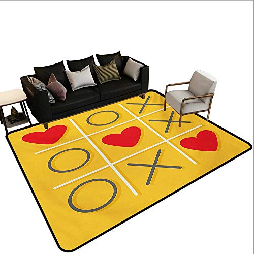 (Home Custom Floor mat,Tic-Tac-Toe Game with XOXO Design Let Me Kiss You Valentines Romantic Illustration 6'x7',Can be Used for Floor Decoration)
