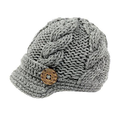 Crocheted Newsboy (Bestknit Baby Boys Crochet Knit Newsboy cap Photography Brim Buttons Hat Medium Grey)