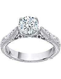 Solitaire Diamond Filigree Shank Engagement Ring in 14K Gold (1 cttw, G-H, VS2-SI1)