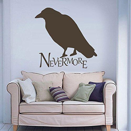 MairGwall Nevermore Raven Edgar Allen Poe Vinyl Wall Decal Art Lettering Wall Graphics Sticker (Black, Small)]()