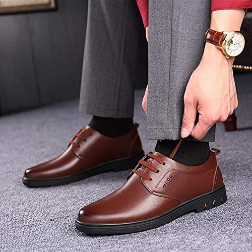 Cuir Chaussures D'automne Ff Brown Respirant Véritable D'affaires Noires Jeunes Hommes En axH1w1