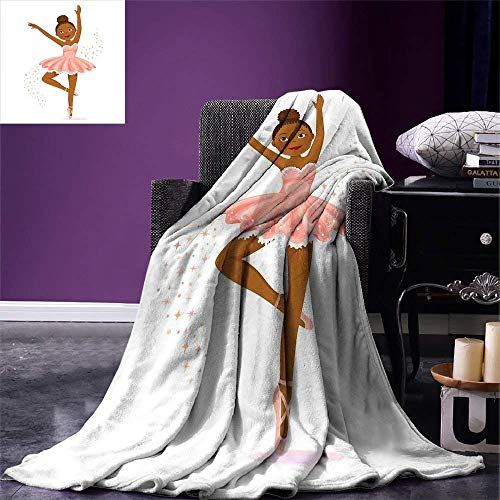 SINOVAL Girls Throw Blanket Ballerina Dancing Daughter Classic Performance Hobby Birthday Kids Baby Theme Warm Microfiber All Season Blanket for Bed or Couch Rose and Brown