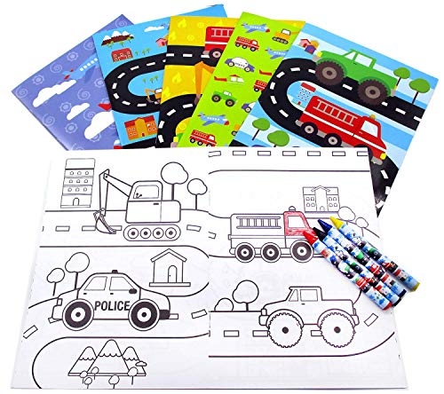 Transportation Vehicles Trains and Construction Coloring Book Set with Crayons Party Favor, 12 -