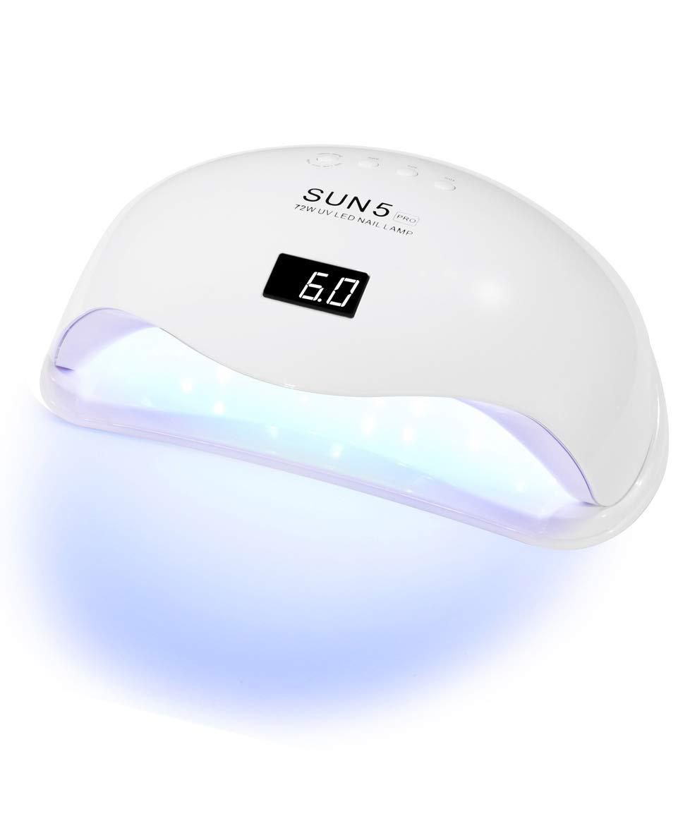 Professional Nail Dryer 72W - SUN 5 Pro UV LED Nail Lamp for Fingernail & Toenail Gel Based Polishes – Portable Nail Curing Light with 36pcs LEDs, 4 Timer Settings & Smart Sensor (White)