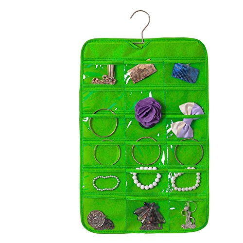 Green Single Transparent Rod - MDYYD Rustic Jewelry Organizer Necklace Holder Hanging Jewelry Organizer Earring Jewelry Accessory Organizers Single Side Storage 18 Pockets Holding Jewelries Women Removable Rod Wall Mounted J