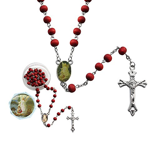 12 Pcs Guardian Angel Red Scented Rosaries with individual Gift Box and Bag- First Communion - Baptism Favor - Wood Pc Guardian
