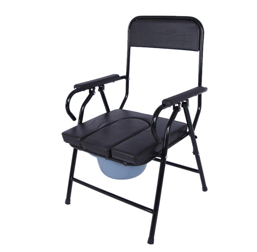 黒い折り畳み高齢者の人の椅子のパッド付きのポータブル妊婦のトイレの椅子の滑り止め手すり頑丈で耐久性のあるバスルームのシャワースツールバケツ付きの障害者のモバイルトイレシート最大80kg B07DL4LVBP