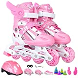 ZCRFY Inline Skates Adjustable Roller Skates Adjustable Boys Or Girls Flash Skate Rollerblades,Pink-M