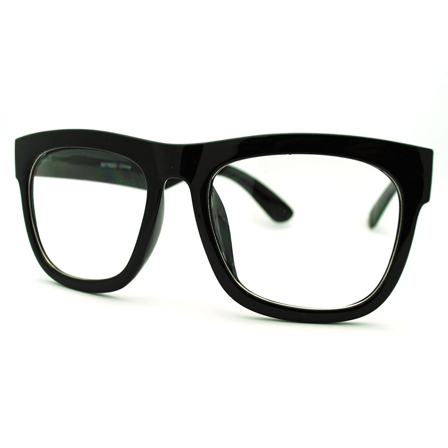 amazoncom black oversized square glasses thick horn rim clear lens frame clothing