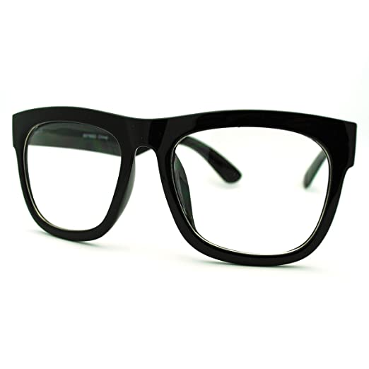 96b6e3a84ac Image Unavailable. Image not available for. Color  Black Oversized Square  Glasses Thick Horn Rim Clear Lens Frame