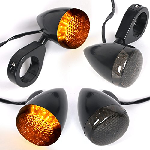 - 4x Motorcycle LED Turn Signal Lights 12V Smoke Lens Amber Yellow Lamp Universal Turn Signal Indicator Blinker for Honda Yamaha Harley Suzuki Kawasaki