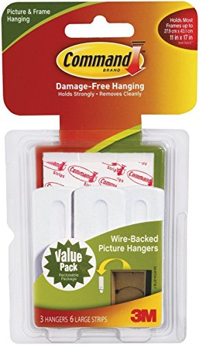 Command Wire Back Picture Hanger Value Pack, White, 3-Hangers (17043-ES)