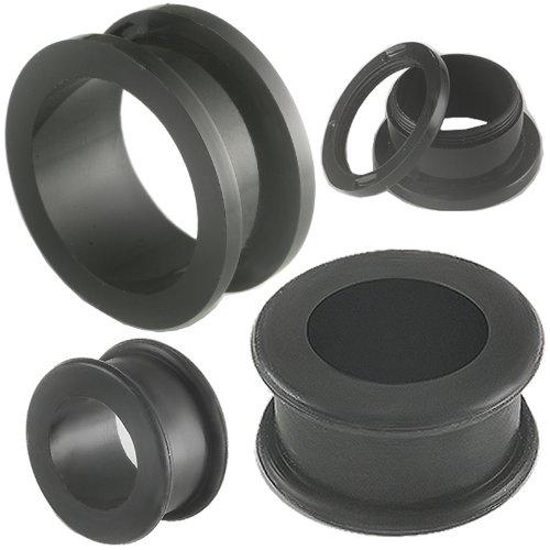 ear lobe flesh plug acrylique tunnel écarteur elargisseur 24mm bijoux piercing Noir 2 Paires FFSO