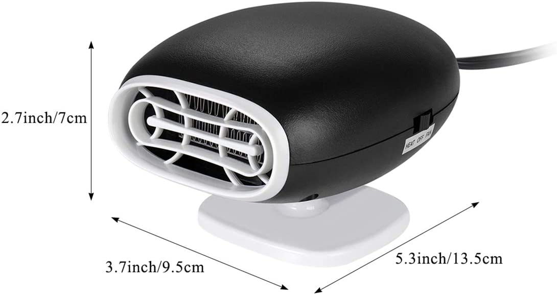 Black Upgrade Portable 2 in 1 Car Heater Defroster Car Air Fan Window Demister 30 Seconds Fast Heating Quickly Defrosts Defogger,12V 150W Portable Auto Ceramic Heater