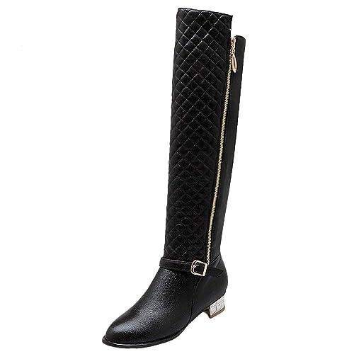 3c90ff9c7513d RAZAMAZA Damen Knee Stiefel Reißverschluss: Amazon.de: Schuhe ...
