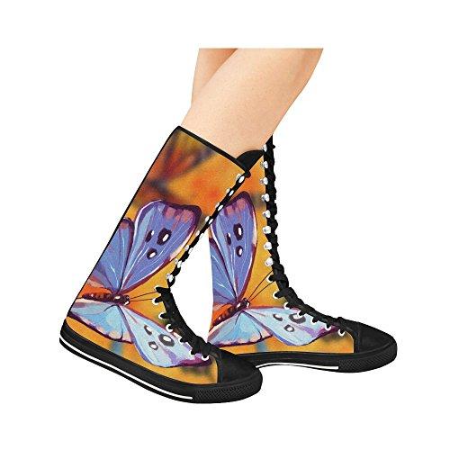 LEINTEREST butterfly Canvas Long Boots For Women ipkOJMkUvb