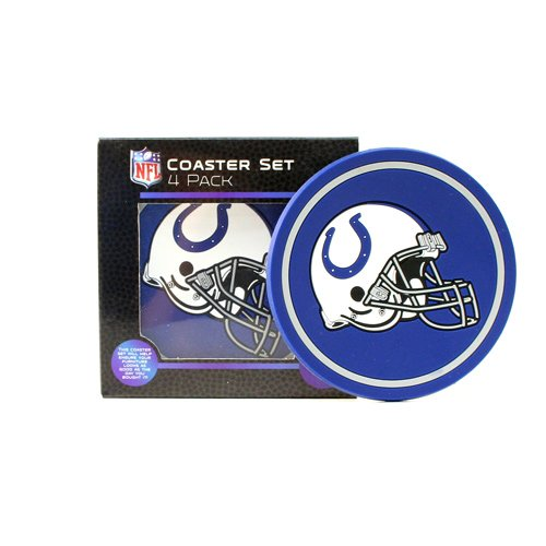 (The Northwest Company NFL Indianapolis Colts Helmet Logo Coasters (4-Pack), Blue, 4.5)