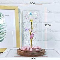 H-Pinao Kit de Rosas La Bella y la Bestia para la decoración, Boda, Fiesta, cumpleaños, Aniversario (Hoja de Oro Colorido Rosa)