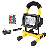 Ustellar Rechargeable 15W RGB LED Flood Lights, Outdoor Cordless Color Changing Floodlight With Remote Control, IP65 Waterproof, Portable 16 Colors 4 Modes Dimmable Emergency Light, Stage Lighting