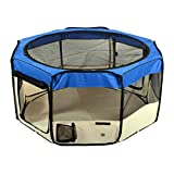 Jespet 61″ Blue Color Dog/Cat/Rabbit/Puppy Pet Playpen 30″ Height Soft Sided Playpen Exercise Tent Fence Cage Crate