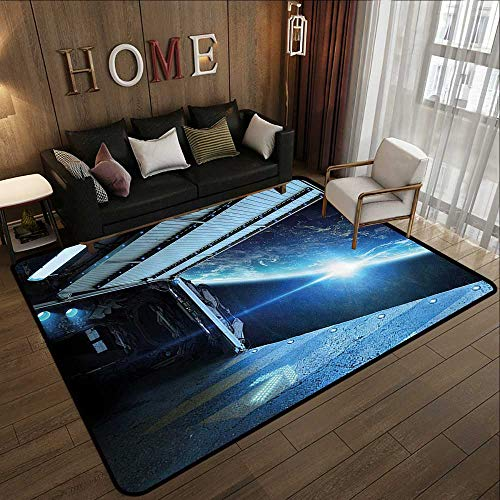 - Multi-Color Modern Area Rug,Outer Space Decor,Interstellar Airlock Shuttle Runway Gate Journey to Stars Invasion View,Blue Gray 47