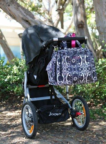 Ju-Ju-Be Be Prepared - Bolso con asas y cambiador para pañales, diseño de pétalos, color rojo y blanco Shadow Waltz
