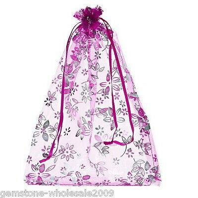 FidgetKute Wholesale lot 18x25 Fuchsia Flower Organza Gift Bags Wedding/Christmas Favor 2500PCs One Size