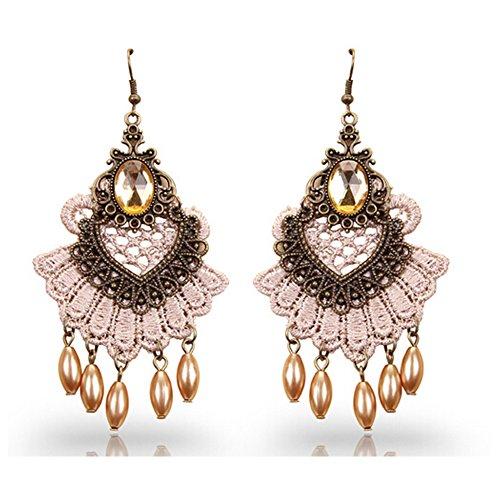 Elakaka Women's Antique Black Lace Noble Earrings