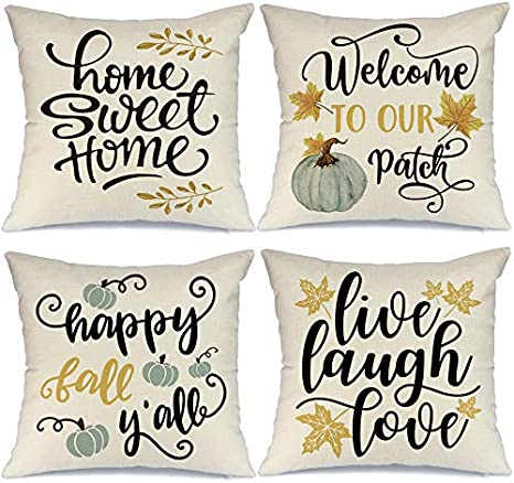 Amazon Com Aeney Fall Pillow Covers 18x18 Inch Set Of 4 Pumpkin Home Sweet Home Farmhouse Throw Pillows For Fall Harvest Thanksgiving Decor Autumn Fall Decorations Pillows Cushion Cases For Sofa Couch 2050bz18